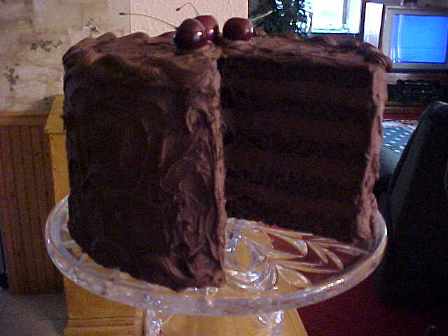 Tall Chocolate Cream Cake W Slice Out