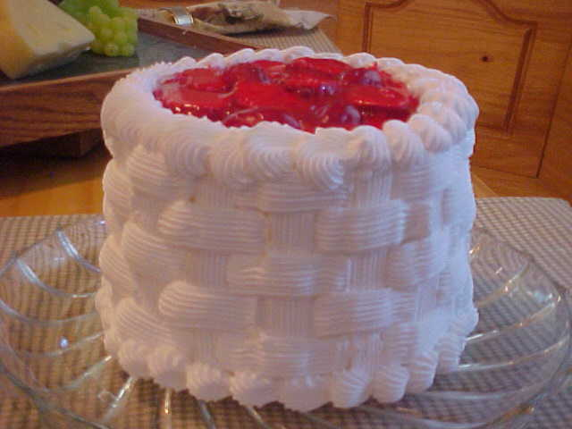 Strawberry Glaze topped Basket Weave Cake