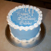 Blue and white Cake used for Signature Theater