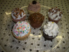 Assorted toppings cupcakes