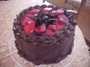 Strawberry Sliced Chocolate Curl Cake