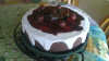 One Layer Chocolate Cherry Topped Cake