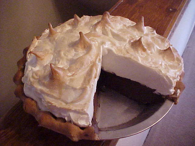 Chocolate Meringue Pie with Slice Out