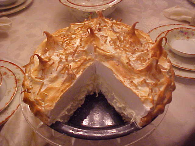 Coconut Meringue Pie with Slice Out