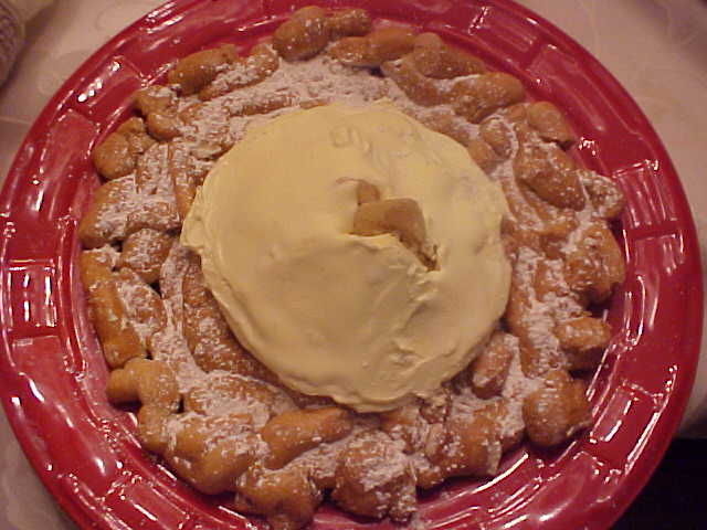 Funnel Cake Topped with Banana Pudding