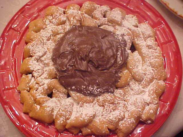 Funnel Cake Topped with Chocolate Pudding