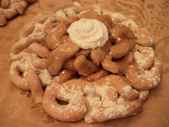 Apple Topped Funnel Cake with Dollop
