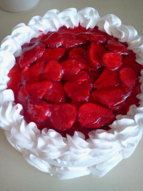 Glazed Strawberry Topped Cake