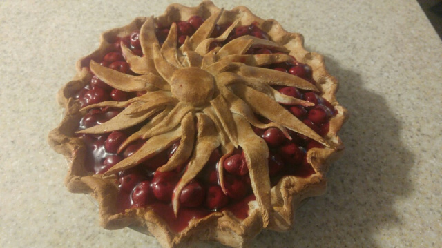 Flowered Top Cherry Pie