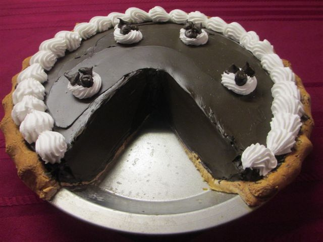 Dark Chocolate Cream Pie with Slice out