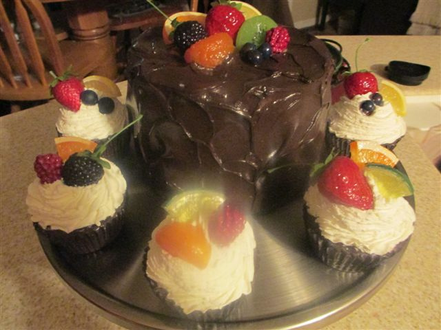 Assorted Fruit Topped Cupcakes