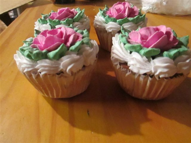 Strawberry Rose topped Cupcakes