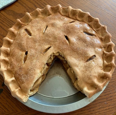 Old Time Apple Pie with Slice Out