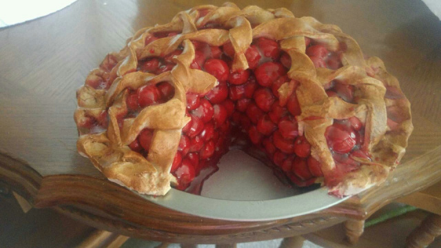 Overstuffed Cherry Pie with Slice Out