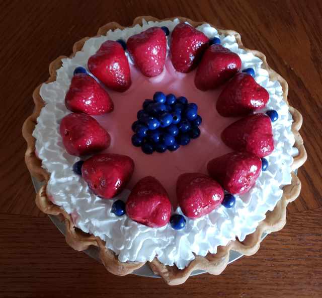 Strawberry and Blueberry Cream Pie