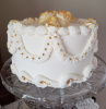 Ivory Rose Victorian Cake with Gold Accents